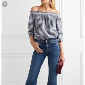 Madewell/smocked gingham off the shoulder top navy